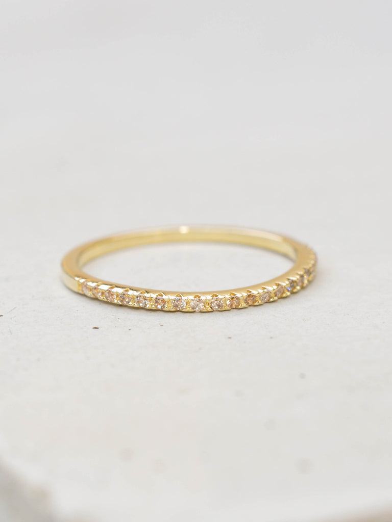 Gold Eternity Band Stacking Ring with Champagne Diamonds by The Faint Hearted