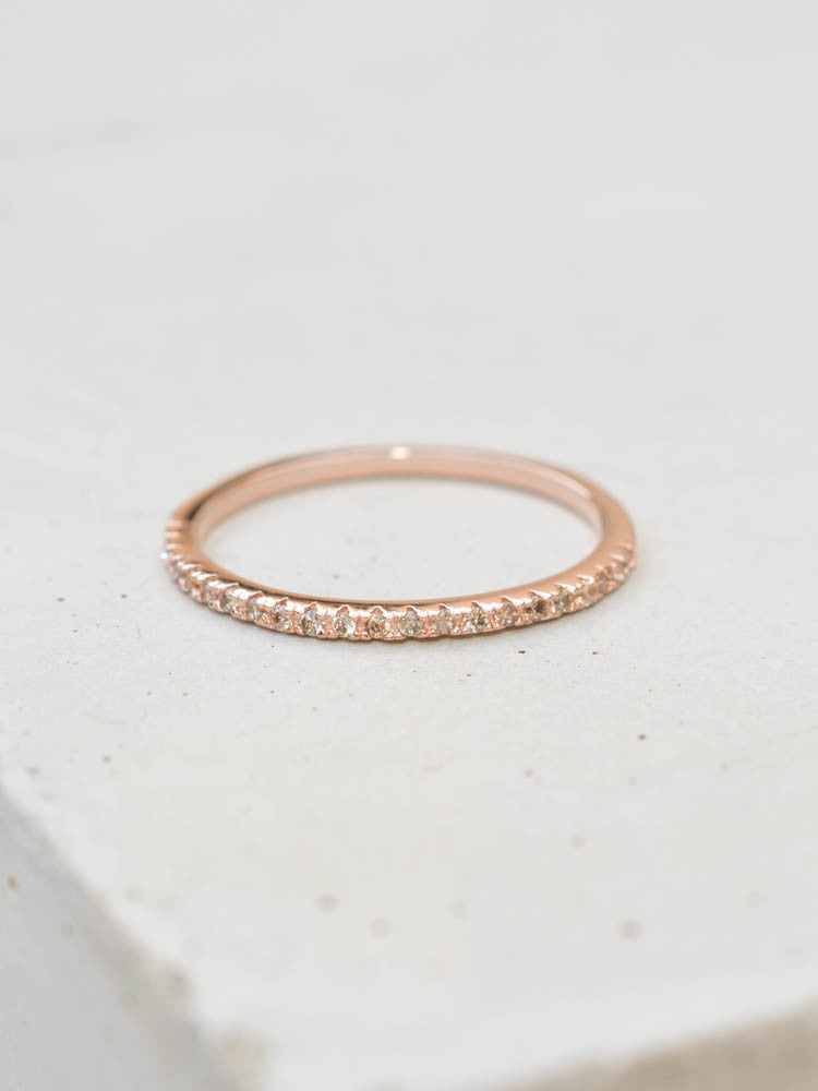 Rose Gold eternity band ring with champagne diamond cubic zirconia