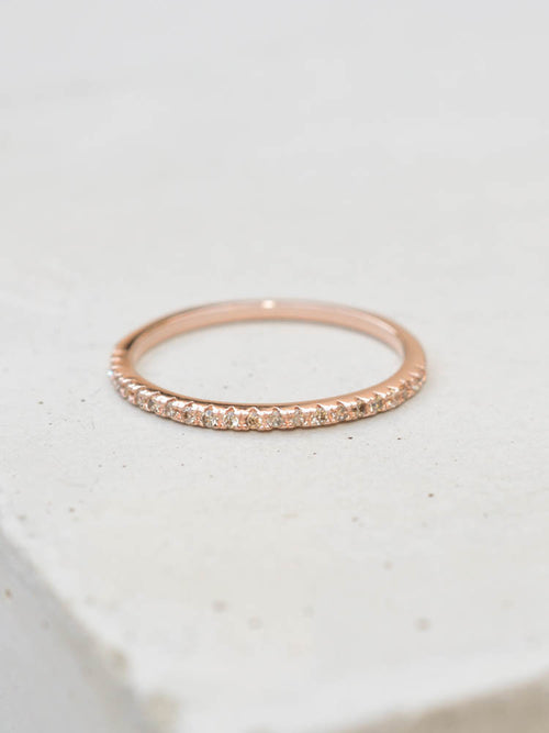 Rose Gold Eternity Stacking Ring with Champagne CZ by The Faint Hearted Jewelry