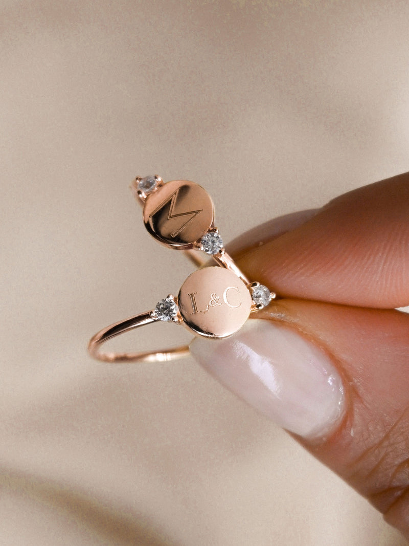Engraved Disc Ring - Rose Gold