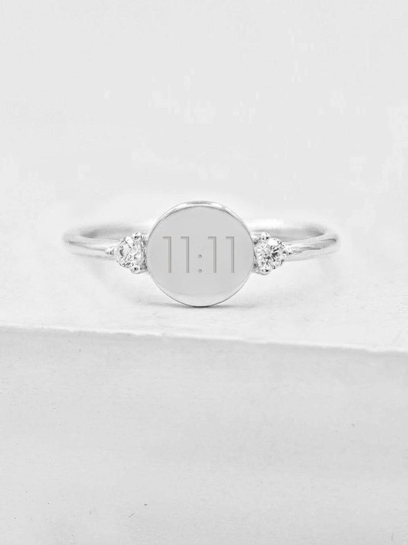 Engraved Disc Ring - Silver