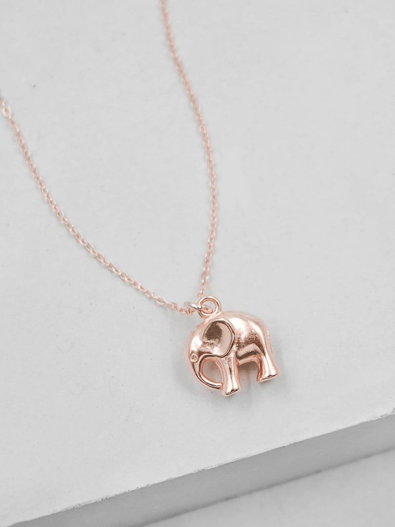 Rose Gold Elephant Lucky Necklace by The Faint Hearted Jewelry