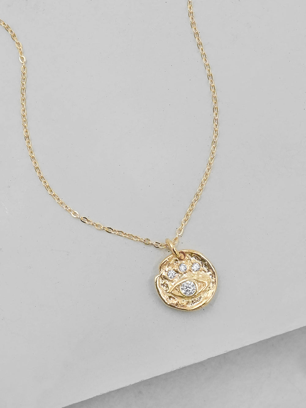 Vermeil evil Eye Charm Gold Necklace by The Faint Hearted Jewelry