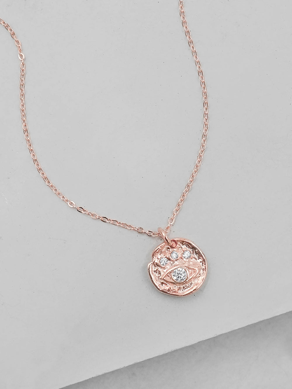 Rose Gold Vermeil evil Eye Charm  Necklace by The Faint Hearted Jewelry