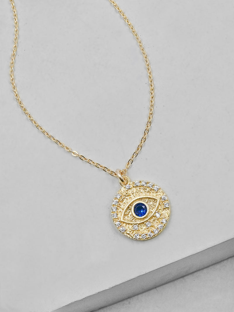 Gold Sparkle Evil Eye Necklace by The Faint Hearted Jewelry