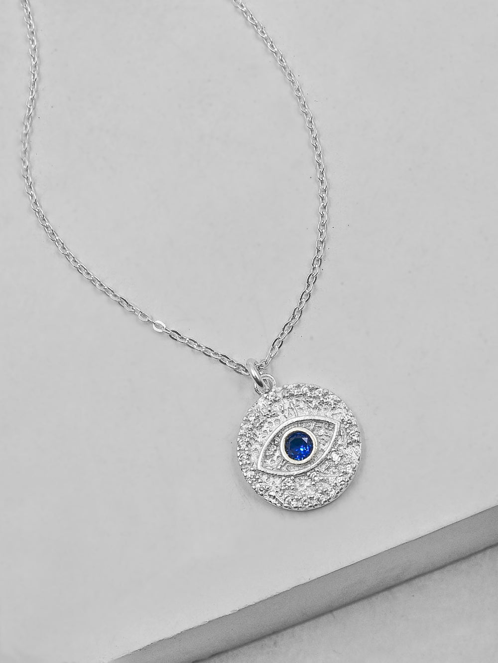 Silver Sparkle Evil eye Necklace by The Faint Hearted Jewelry