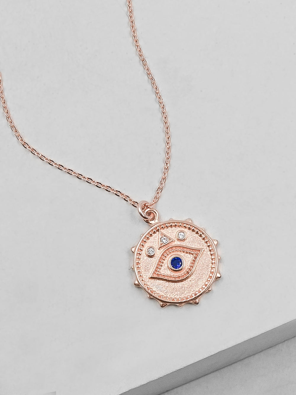 Rose Gold Sparkle Evil Eye Necklace by The Faint Hearted Jewelry