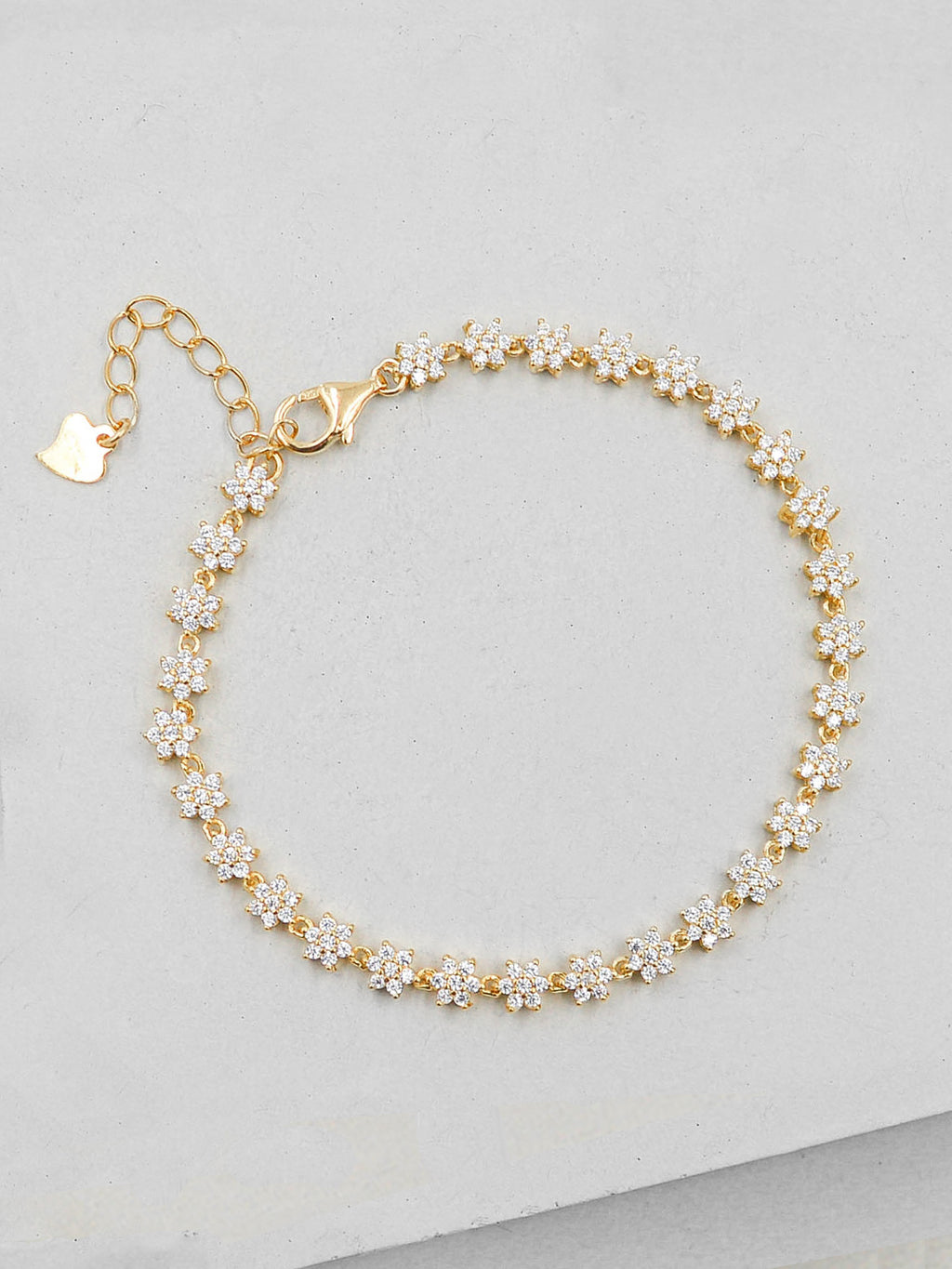Flower Tennis Bracelet - Gold