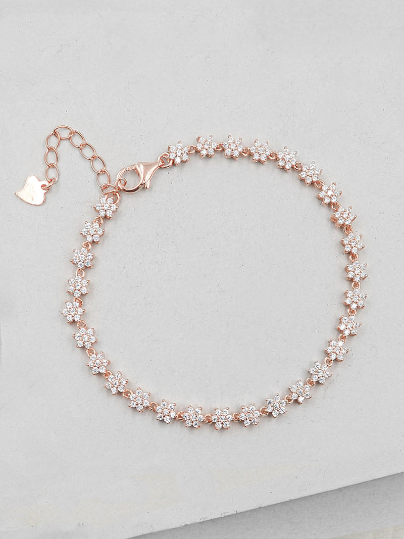 Flower Tennis Bracelet - Rose Gold