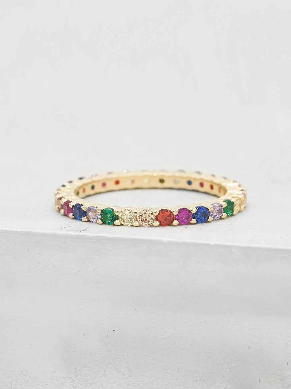 Rainbow Eternity Ring - Gold