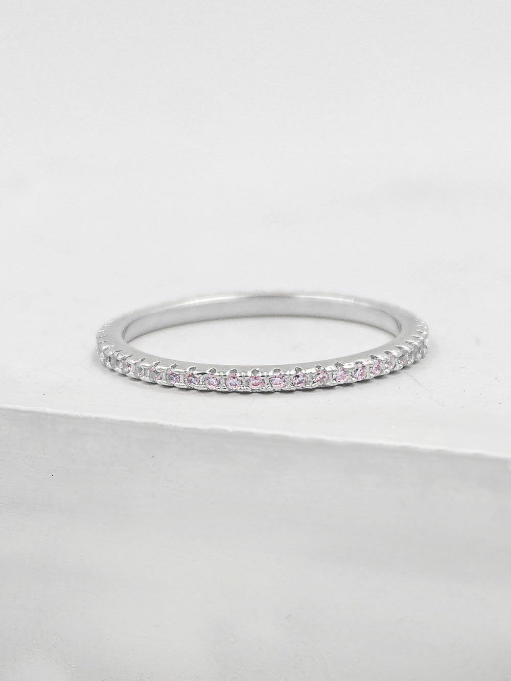 Eternity Ring - Silver + Light Pink