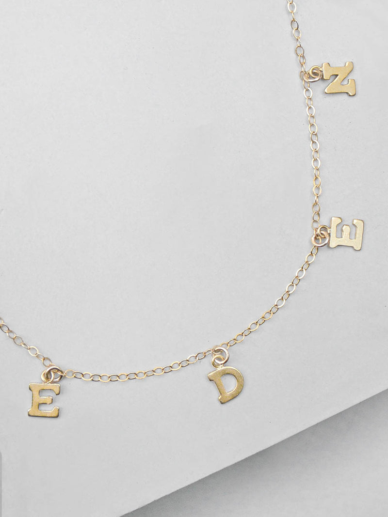 Custom Block Name Necklace in Gold by The Faint Hearted Jewelry