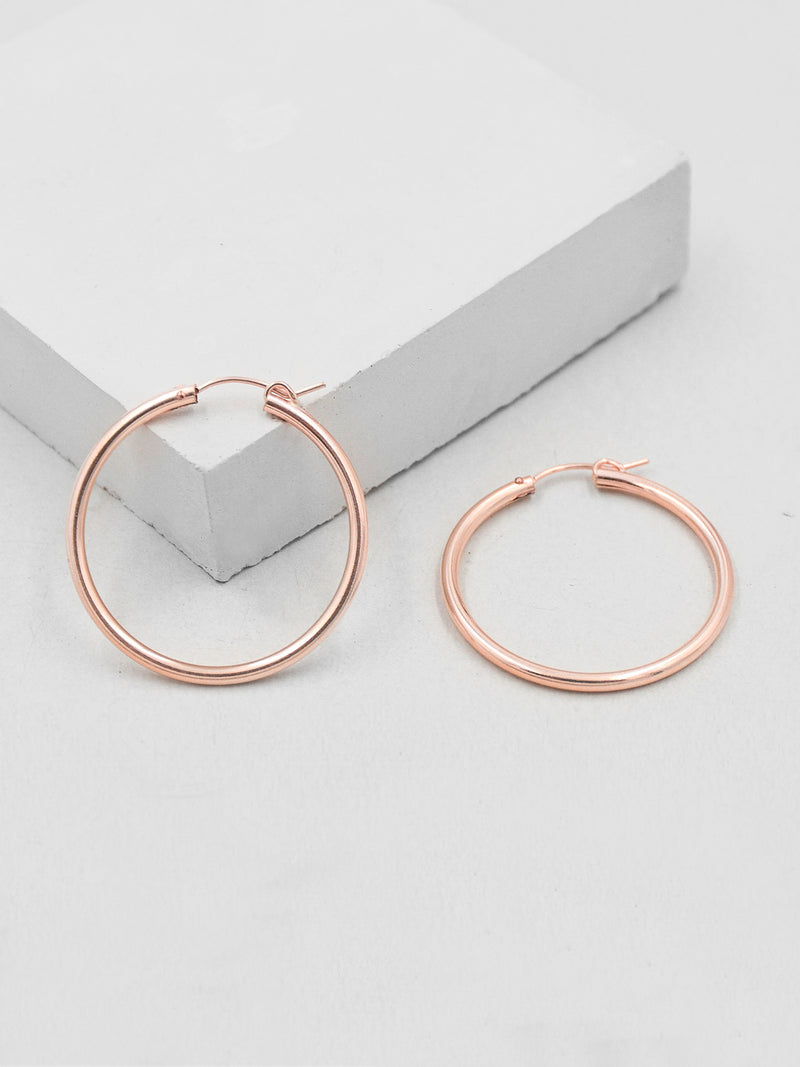 Rose gold filled hoops snap bar clasp Dangling Earrings by The Faint Hearted jewelry