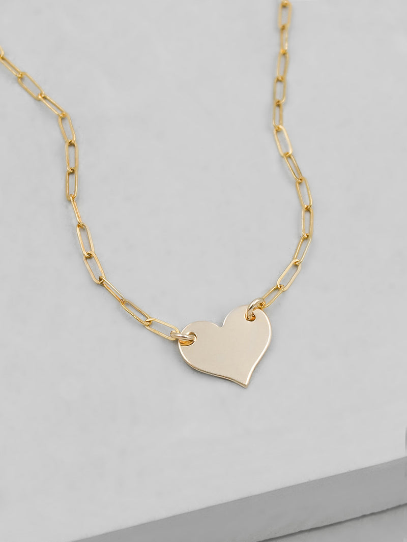 Paperclip Heart Necklace - Gold