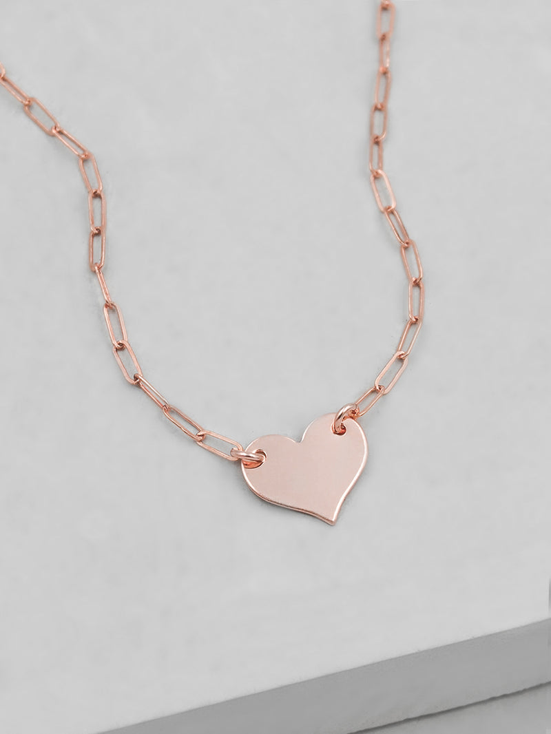 Paperclip Heart Necklace - Rose Gold