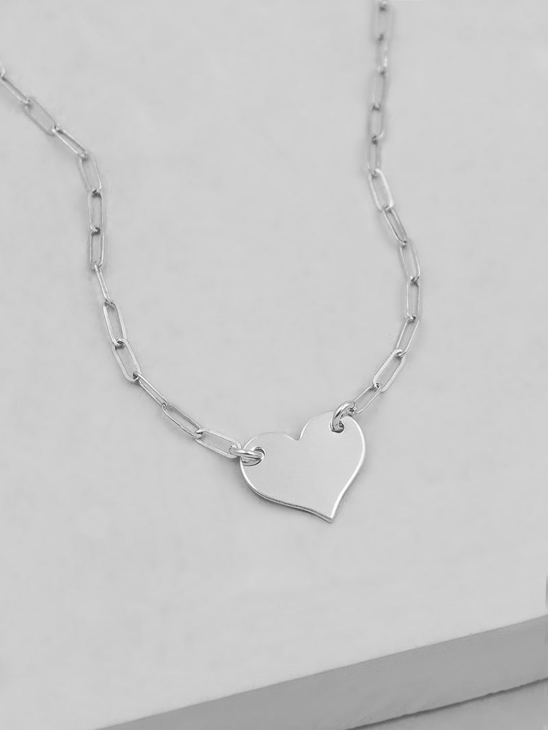 Paperclip Heart Necklace - Silver