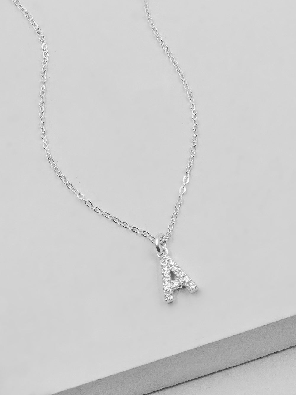 Sparkle Initial Necklace - Silver