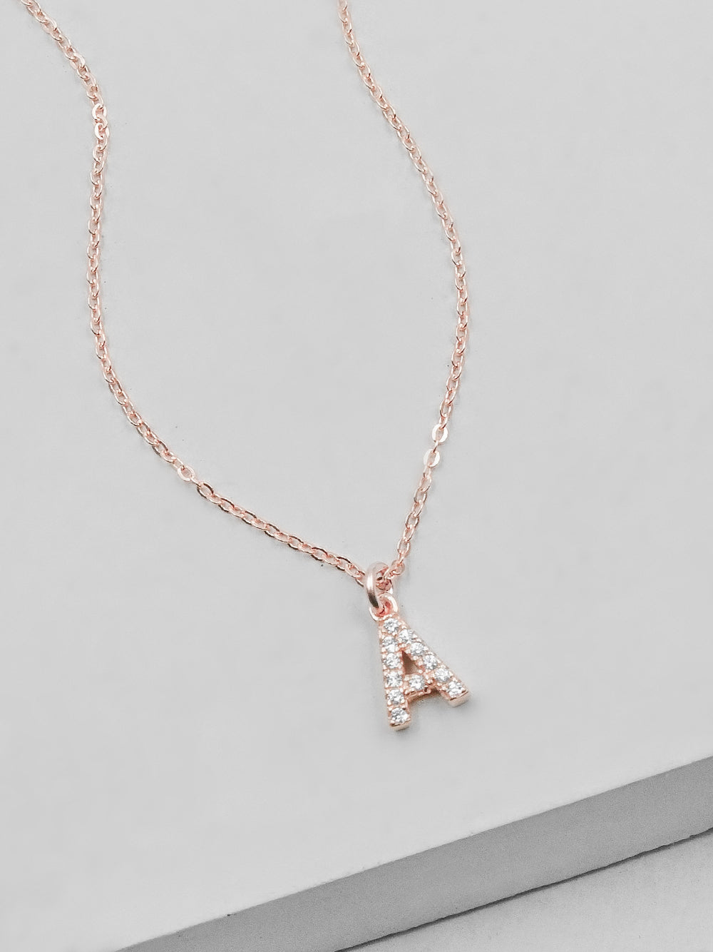 Rose Gold  Initial CZ Necklace by The Faint Hearted Jewelry