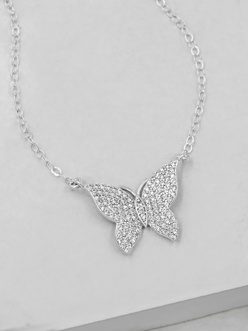 Large Butterfly Necklace - Silver