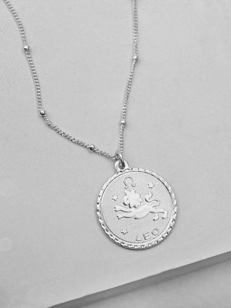 Large Silver Zodiac Sign Charm  Necklace by The Faint Hearted Jewelry