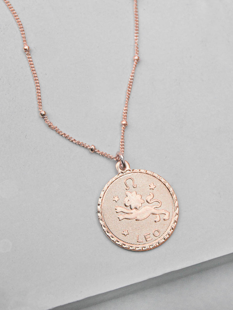 Large Zodiac Necklace - Rose Gold