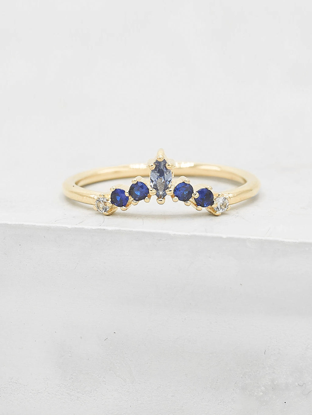 Marquise V Ring - Gold + Blue
