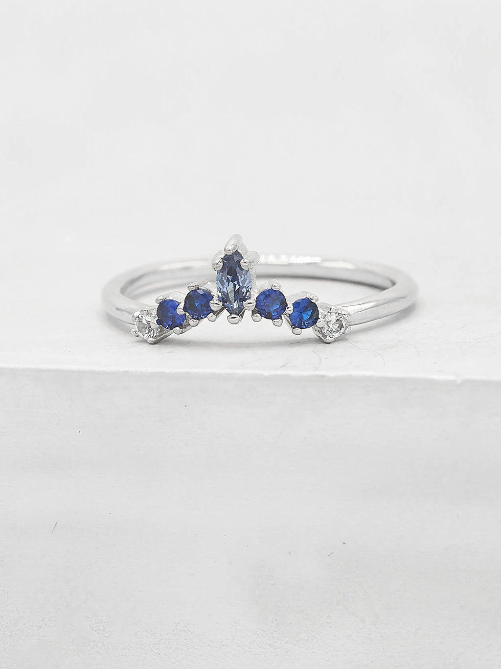 Marquise V Ring - Silver + Blue