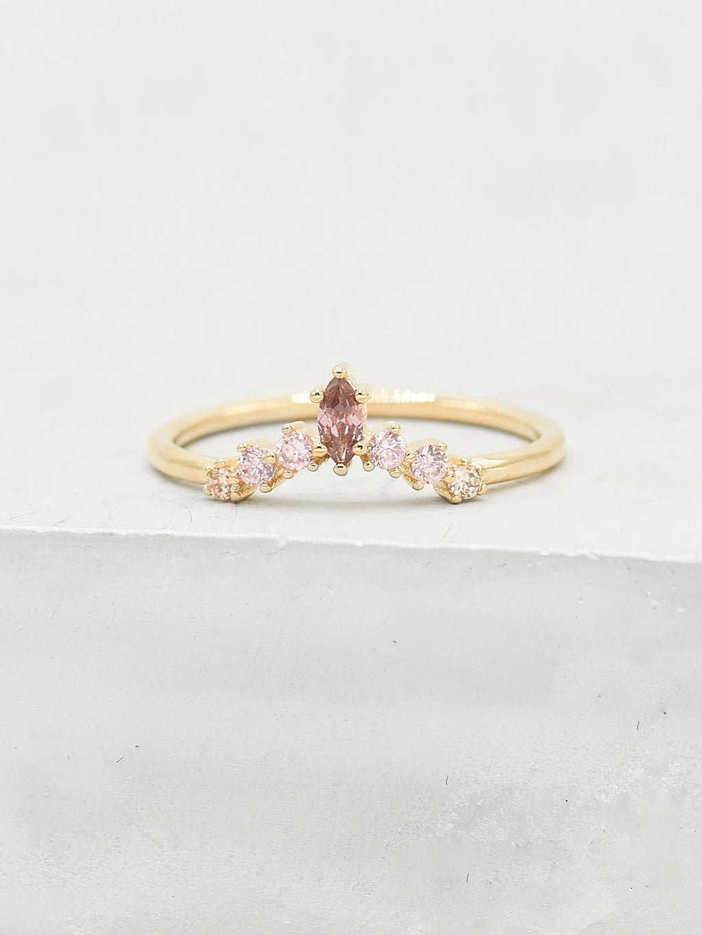 Marquise V Ring - Gold + Pink