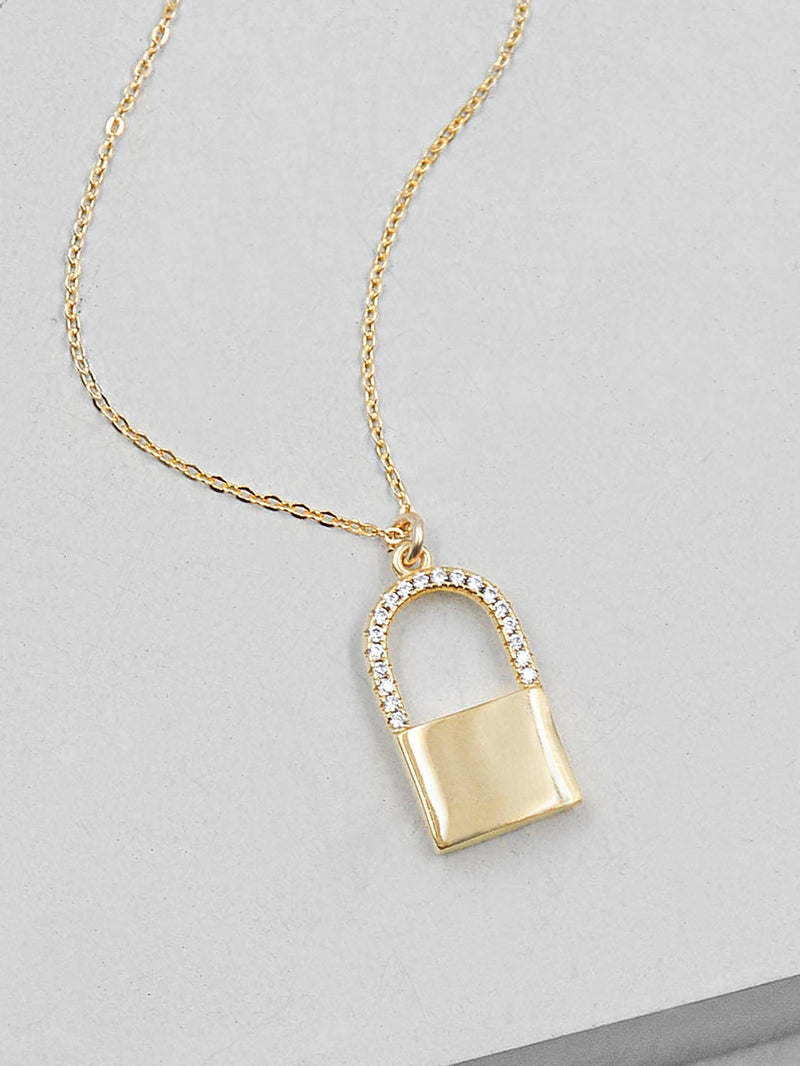 Sparkle Padlock Necklace - Gold