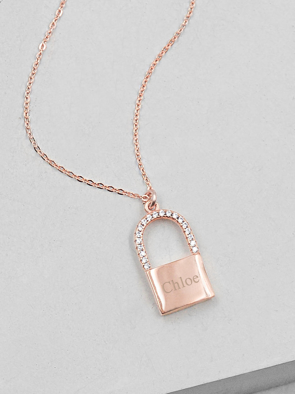 Sparkle Padlock Necklace - Rose Gold