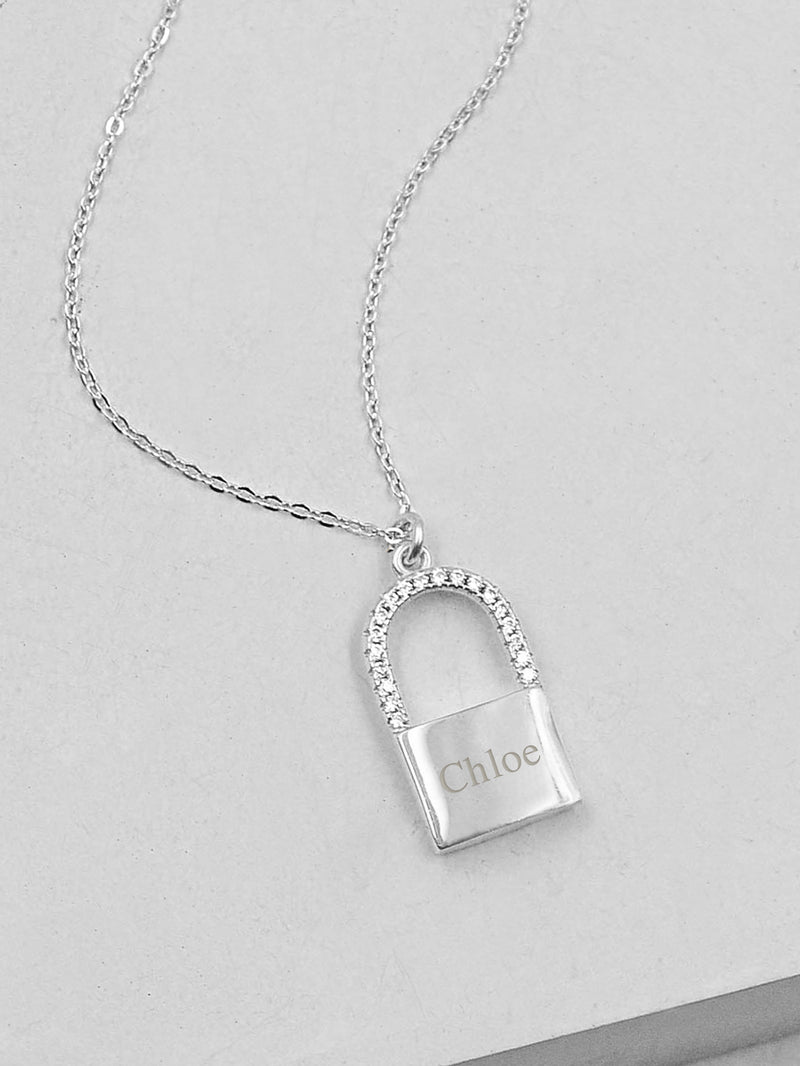 Sparkle Padlock Necklace - Silver