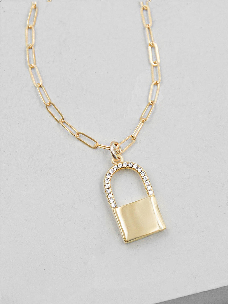 Sparkle Paperclip Padlock Necklace