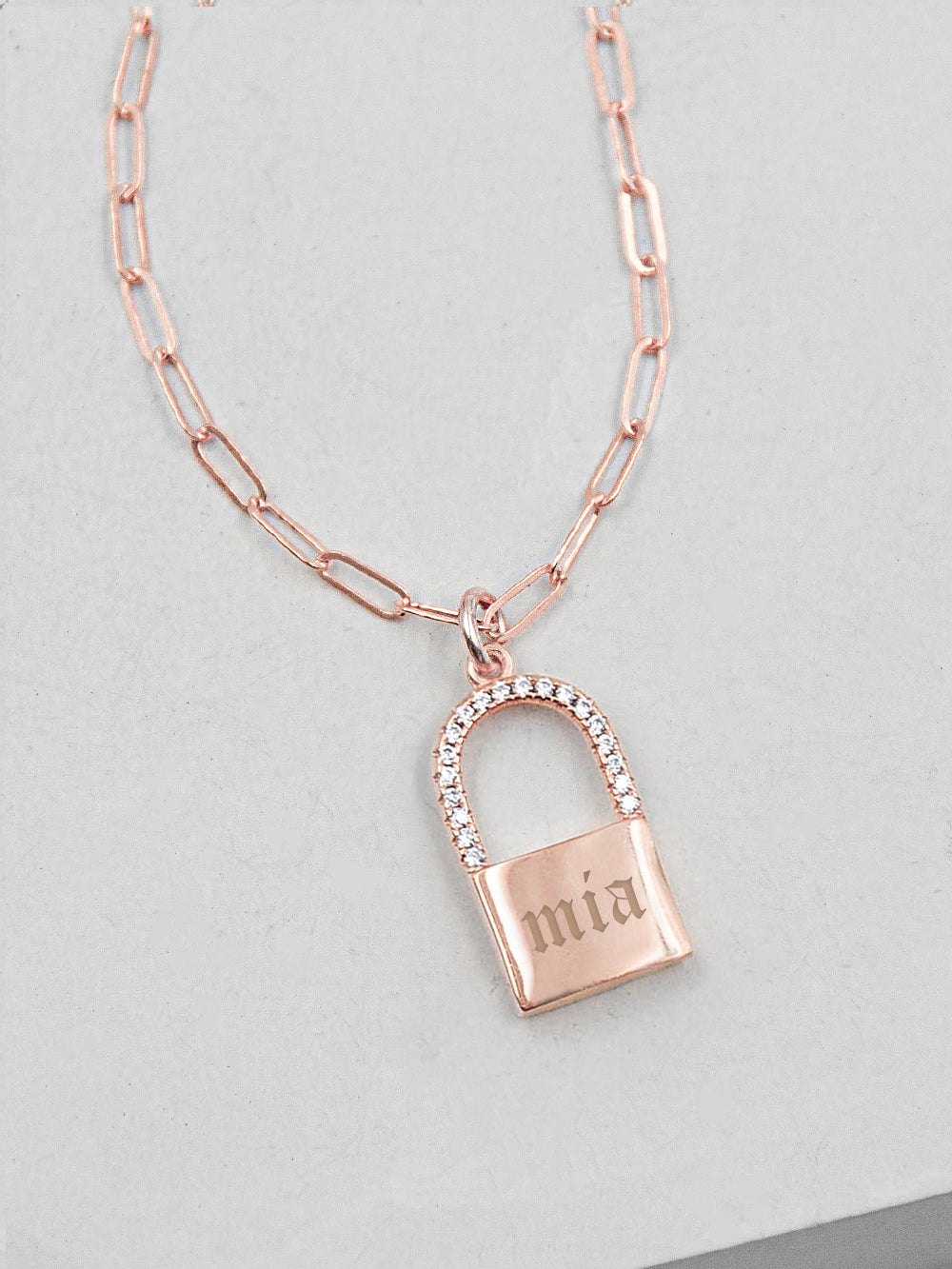 Sparkle Paperclip Padlock Necklace - Rose Gold
