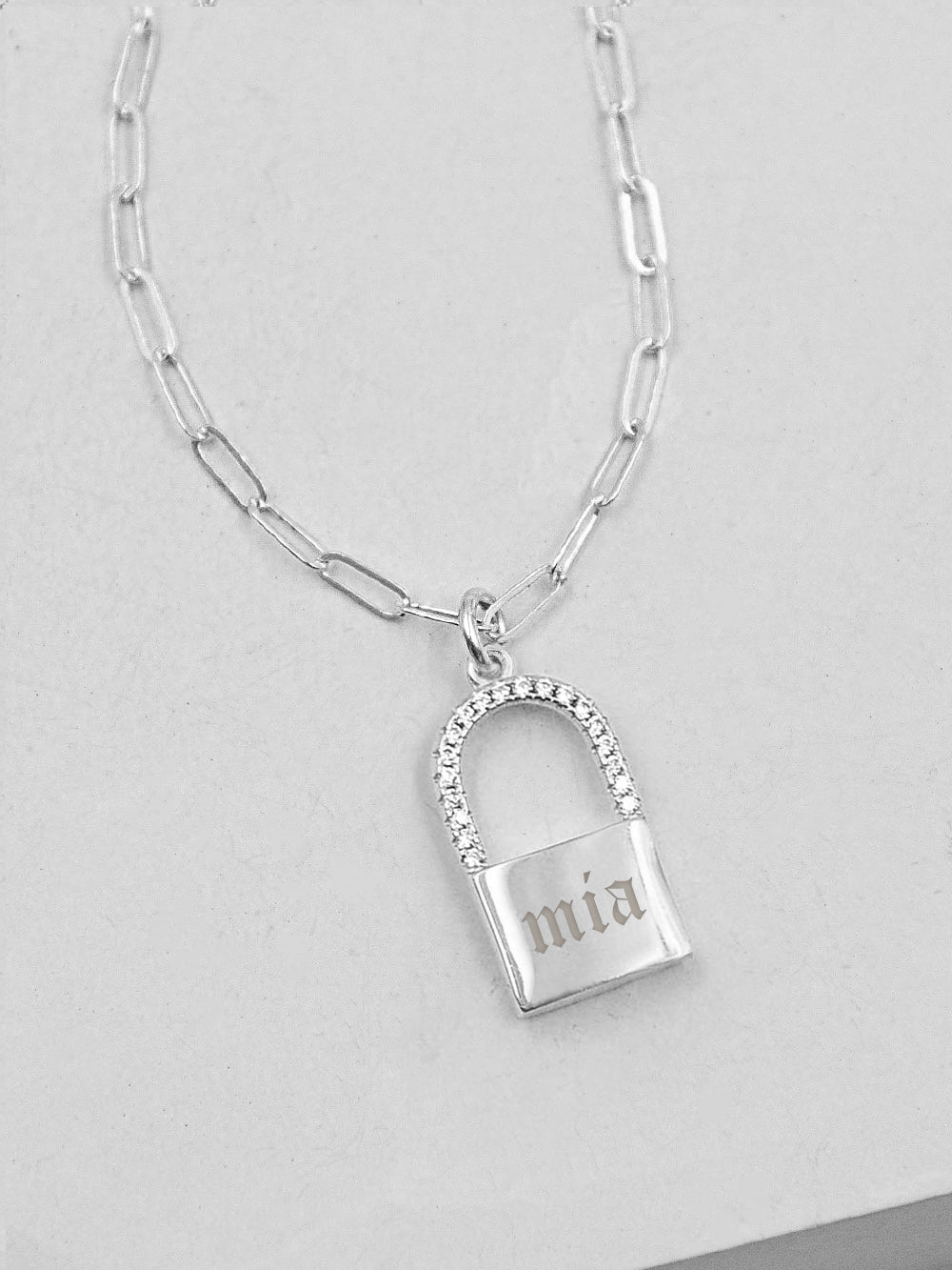 Sparkle Paperclip Padlock Necklace - Silver