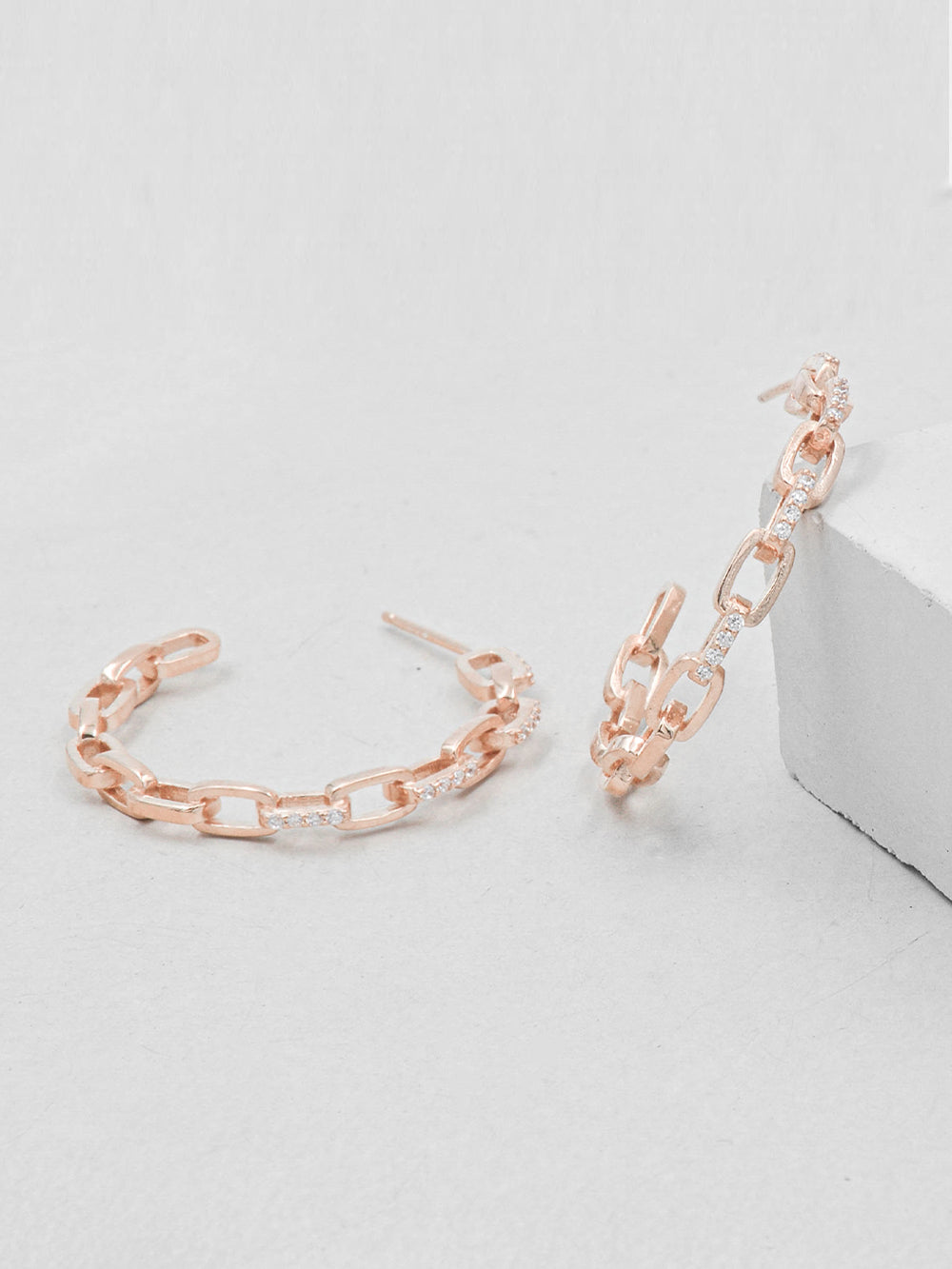Paperclip Chain Hoops - Rose Gold