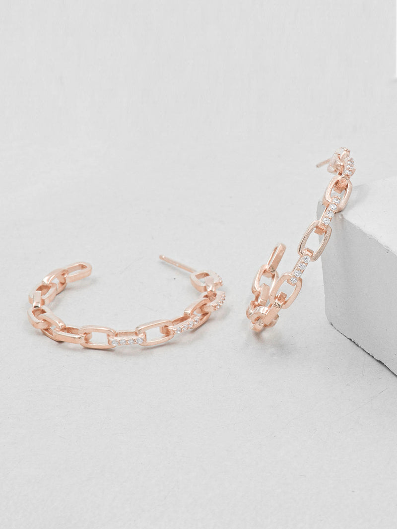 Rose Gold Paperclip Chain Hoop Dainty Earrings by The Faint Hearted Jewelry