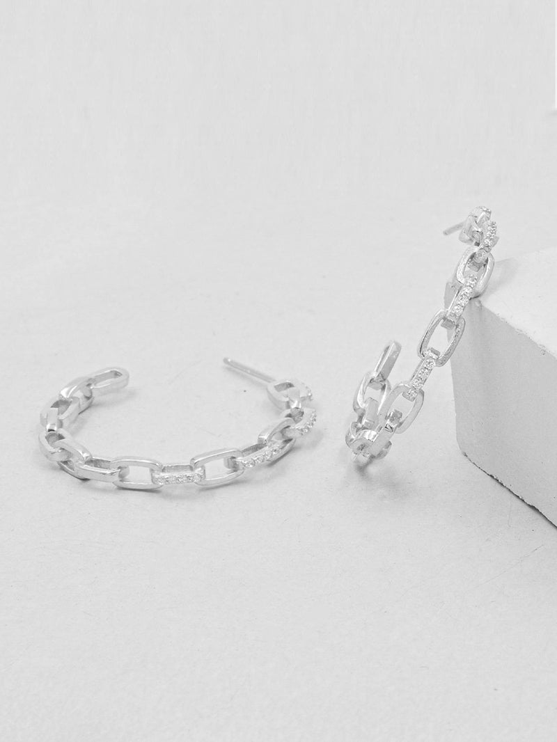 Rhodium Plated Paperclip Chain Hoop Dainty Earrings by The Faint Hearted Jewelry