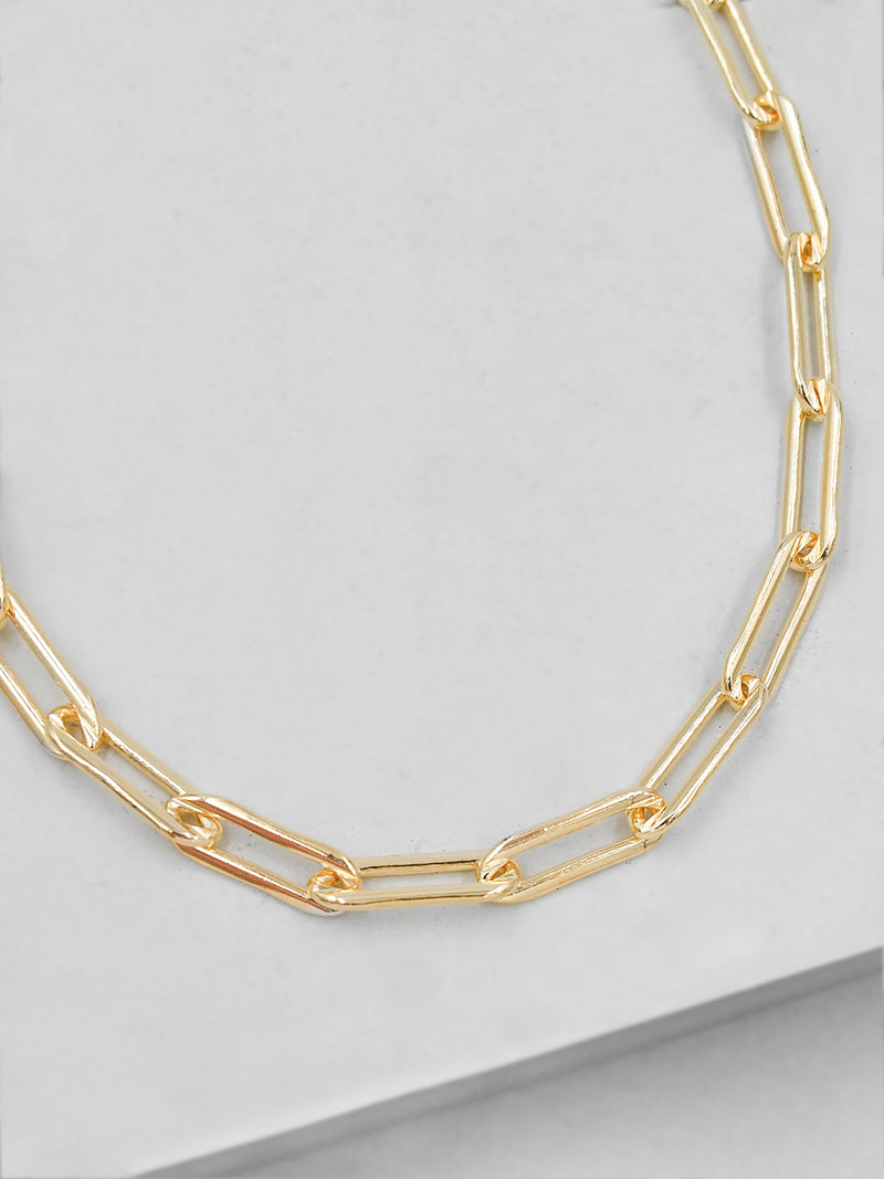 Large Paperclip Gold Necklace  by The Faint Hearted Jewelry