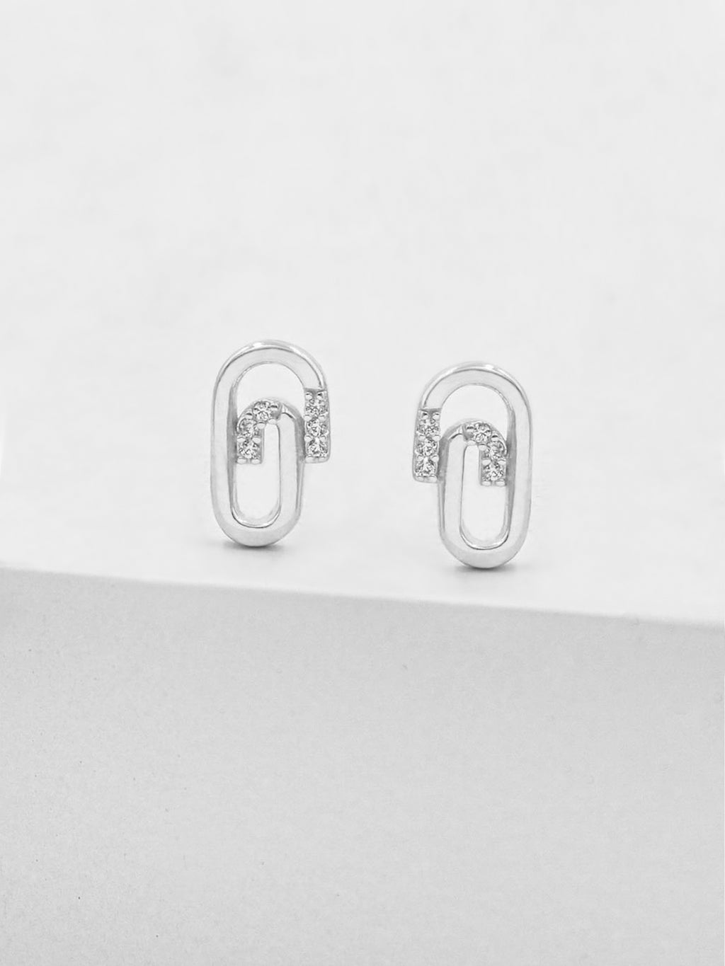 Paperclip Studs - Silver
