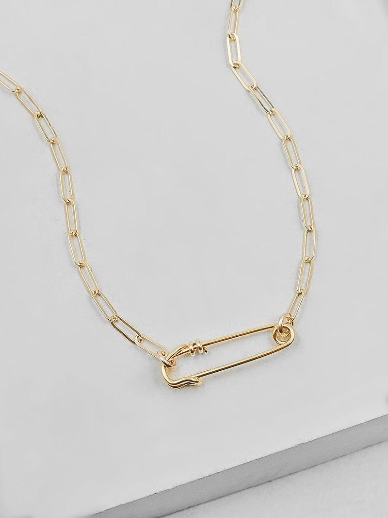 Paperclip Safety Pin Necklace - Gold