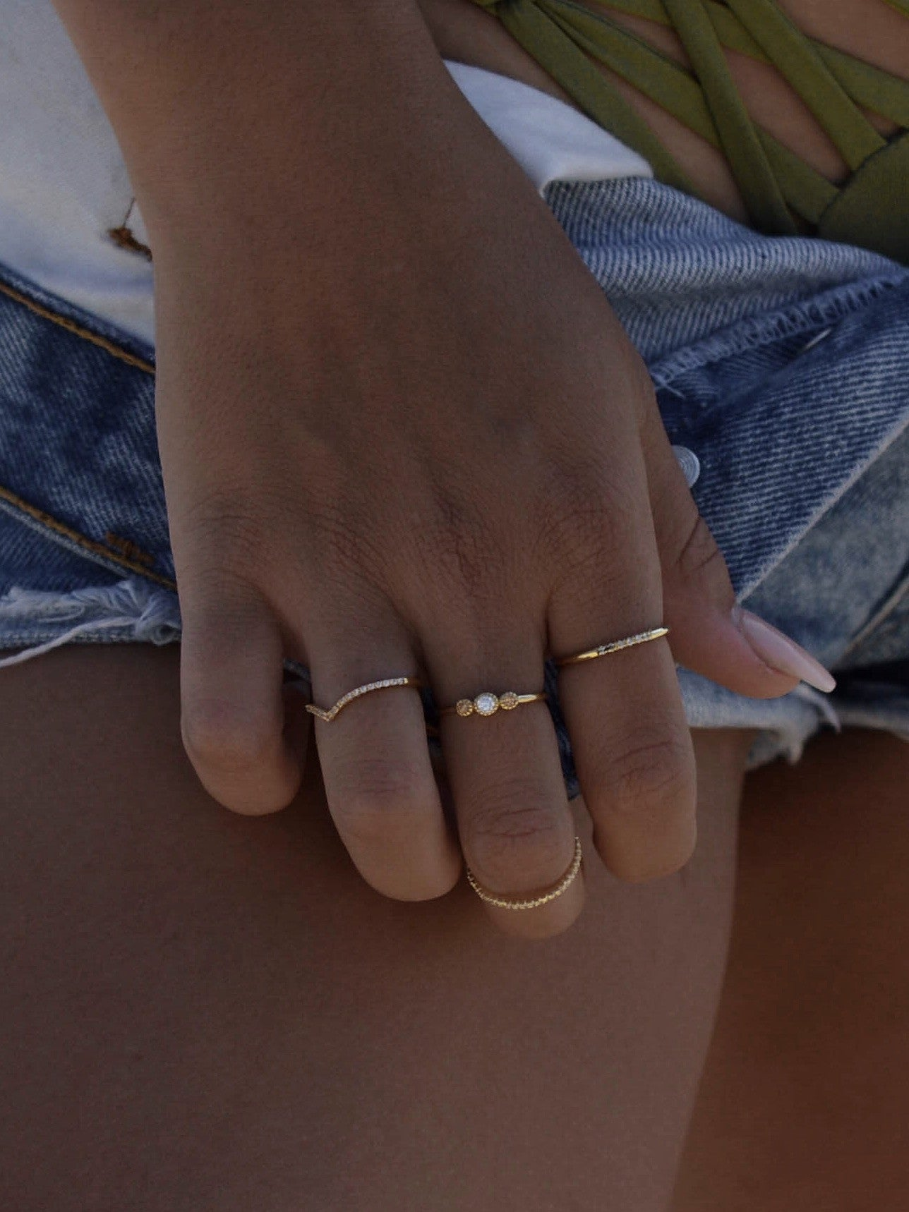 Gold V ring stacking ring by the faint hearted jewelry