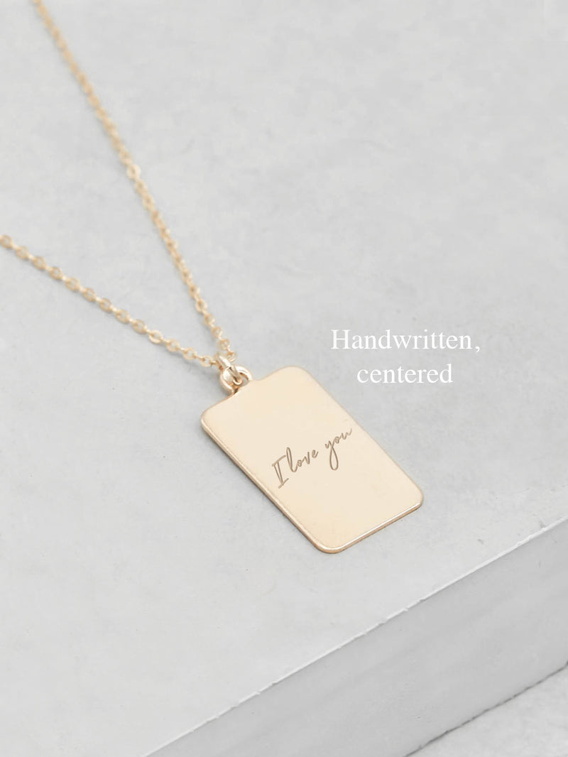 Engraved Tag Gold Necklace by The Faint Hearted Jewelry