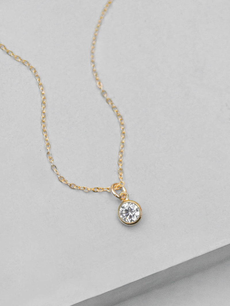 Diamond Drop Necklace - Gold Filled