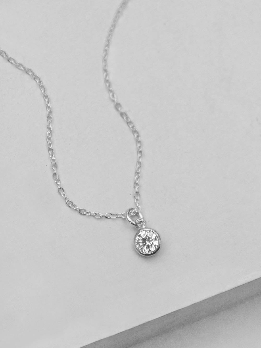 Diamond CZ Drop Silver Necklace by The Faint Hearted Jewelry