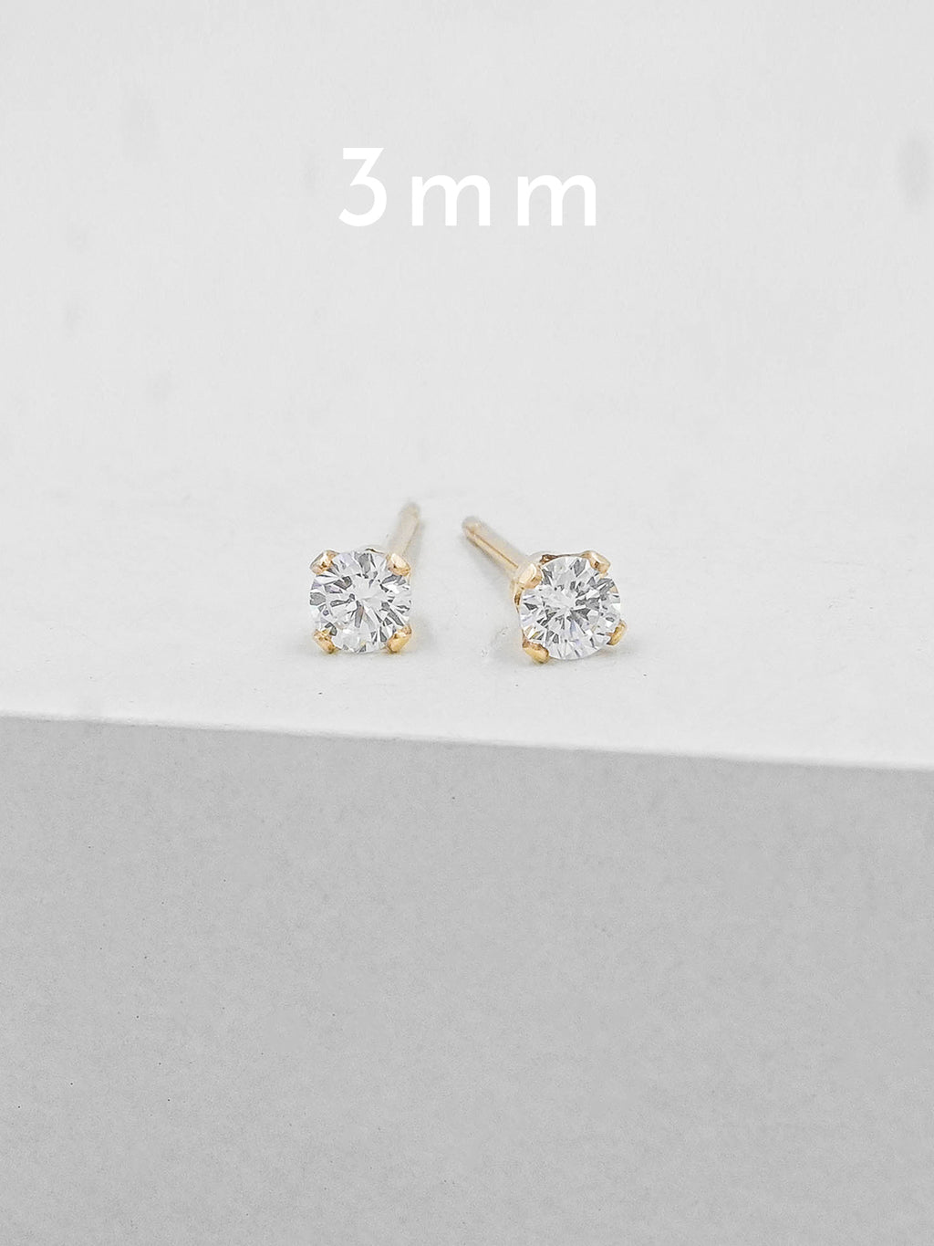 3 mm Gold Plated Solitaire Stud Earrings by The Faint Hearted Jewelry
