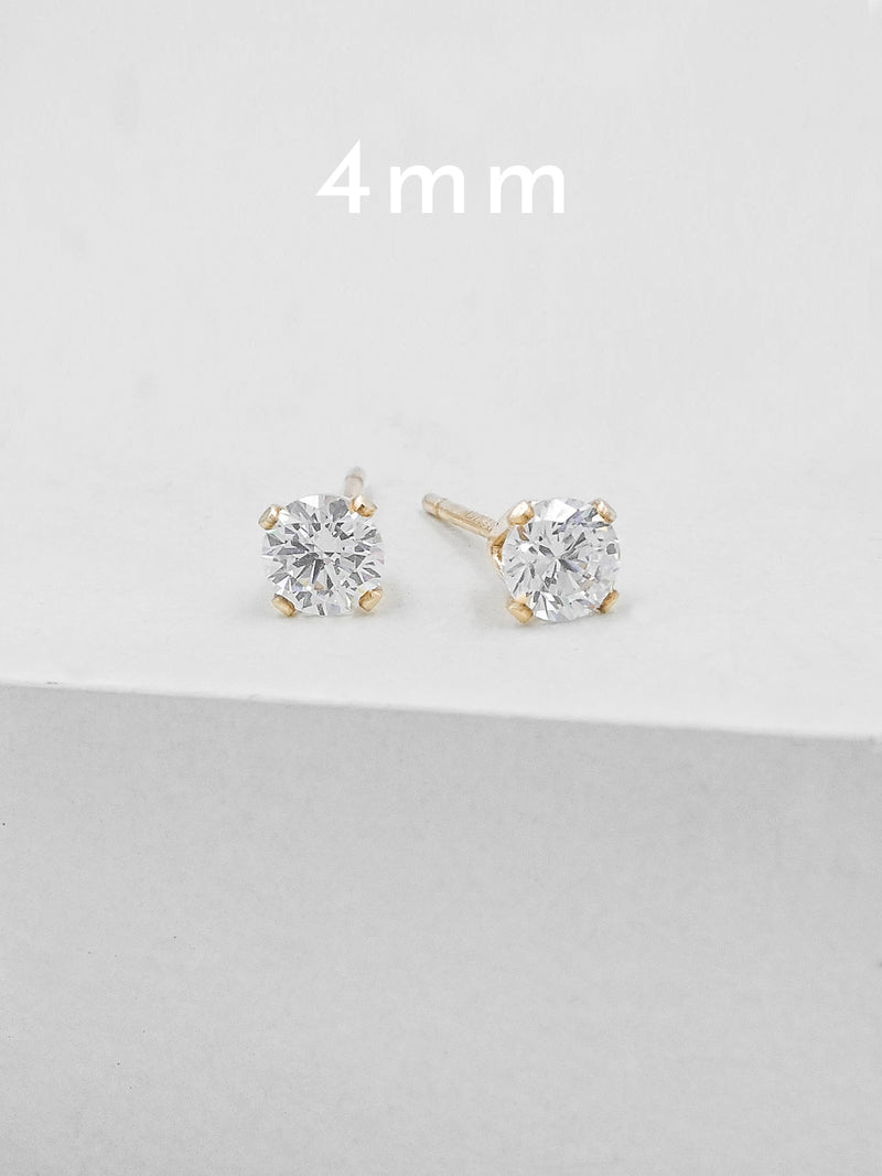 4  mm Gold Plated Solitaire Stud Earrings by The Faint Hearted Jewelry