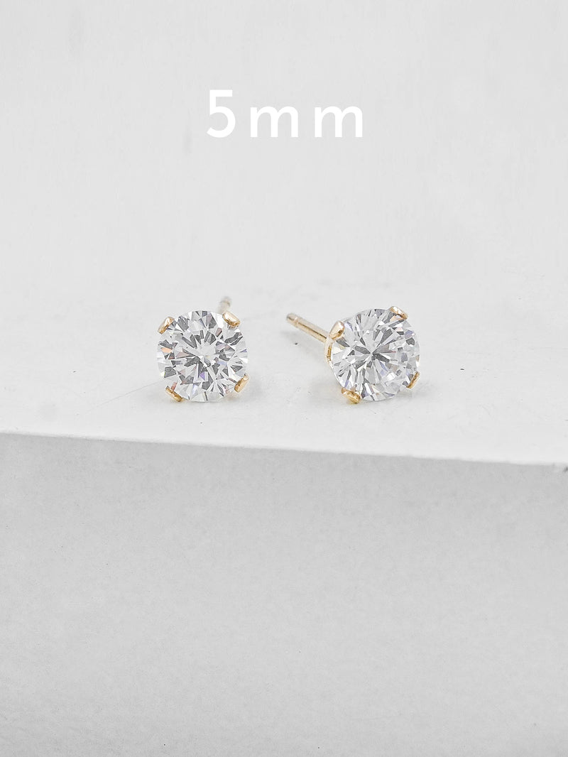 5  mm Gold Plated Solitaire Stud Earrings by The Faint Hearted Jewelry