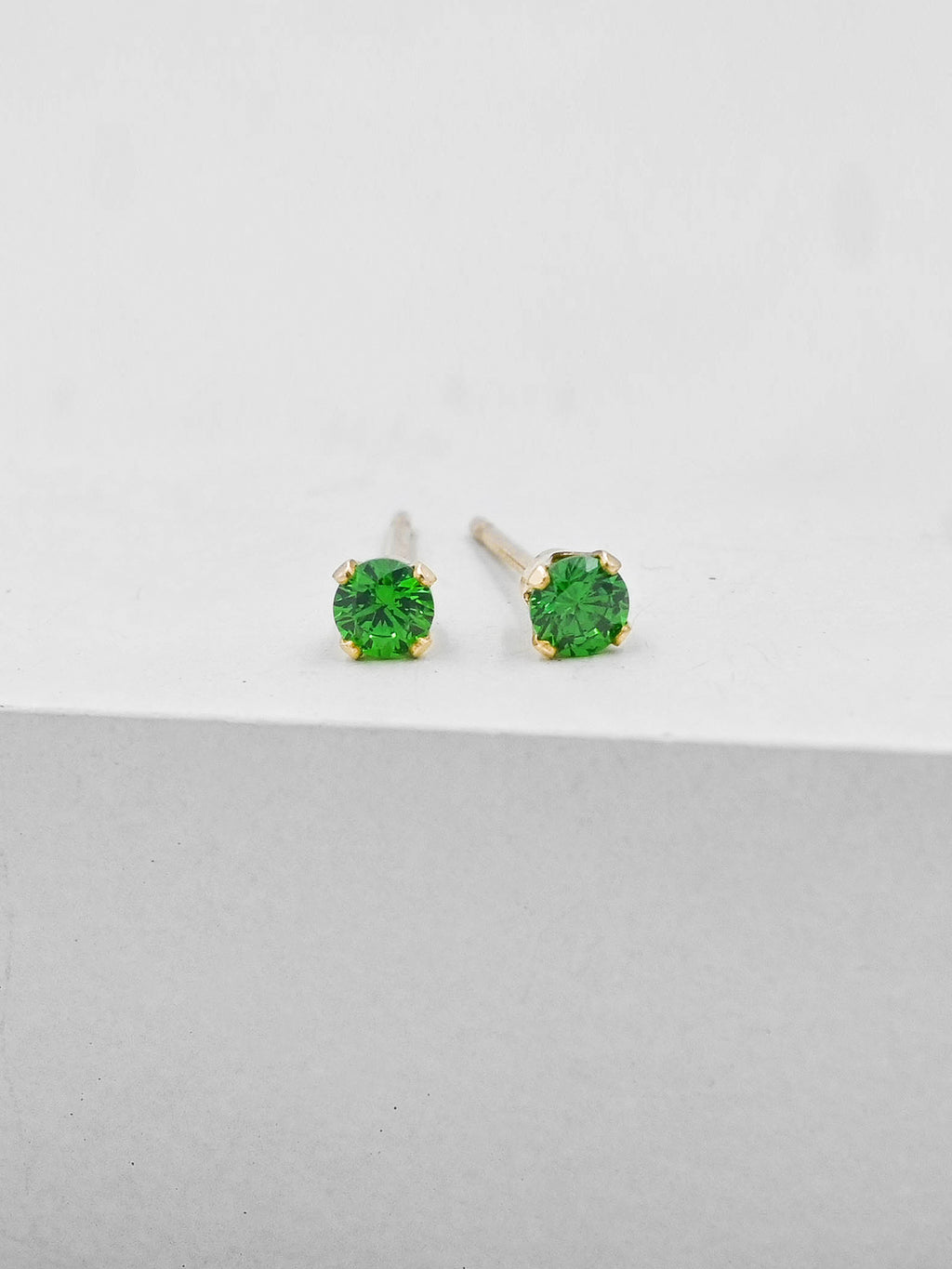 Green Round CZ Gold Plated Solitaire Stud Earrings by The Faint Hearted Jewelry