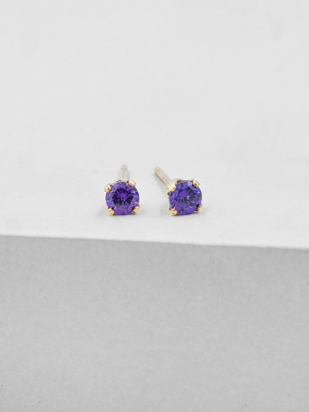 Purple Round CZ Gold Plated Solitaire Stud Earrings by The Faint Hearted Jewelry