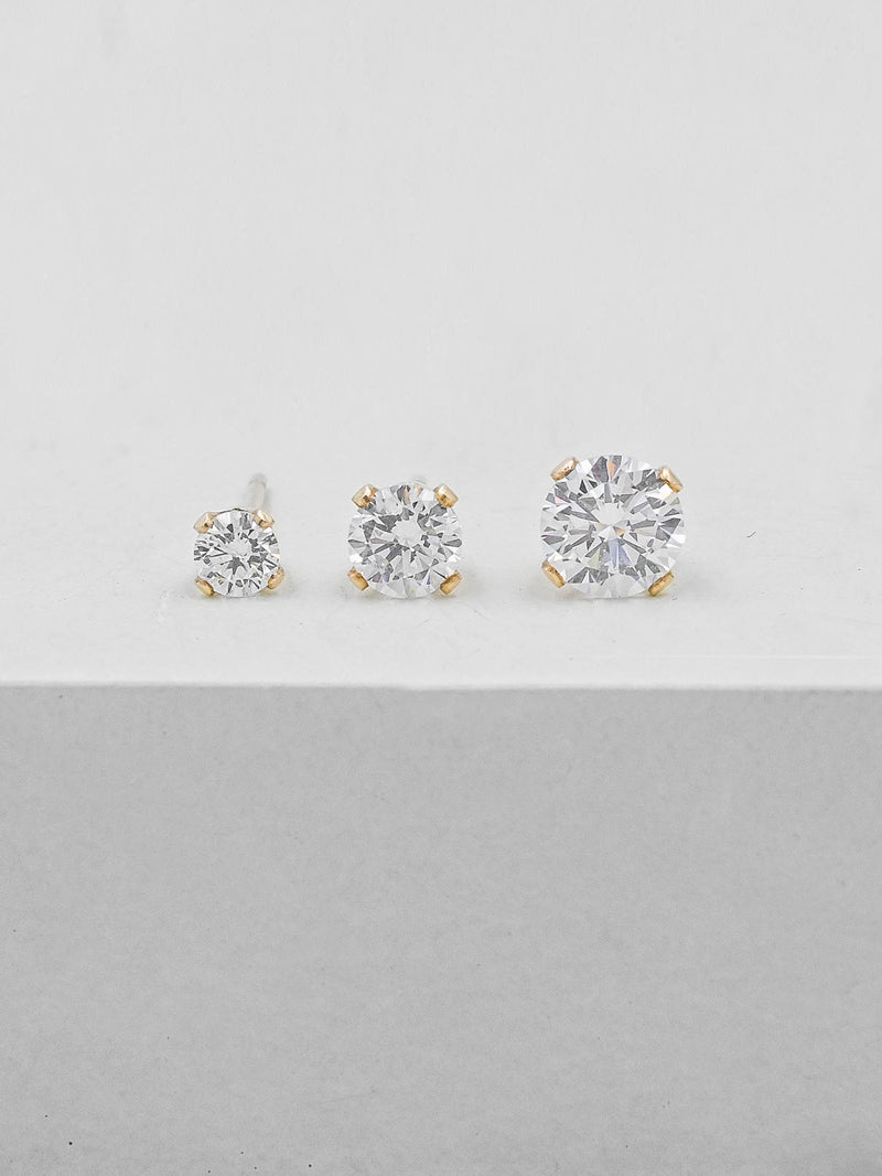 White CZ Solitaire Stud Earrings by The Faint Hearted Jewelry